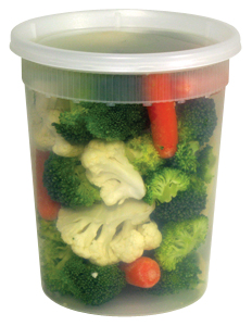 DELI CONTAINER AND LID COMBO 32 OZ CLEAR, PE, MICROWAVABLE