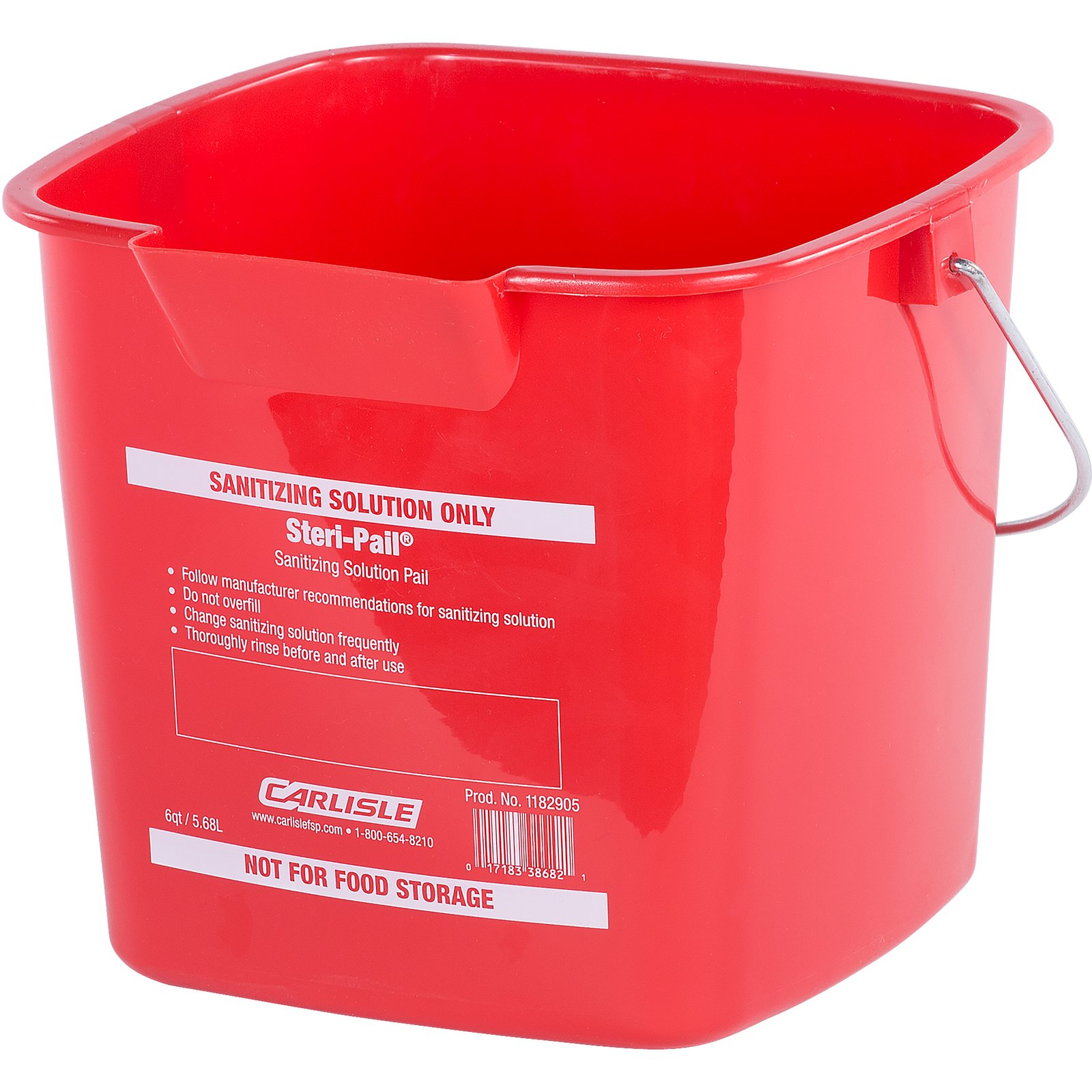 PAIL 6 QUART STERI RED