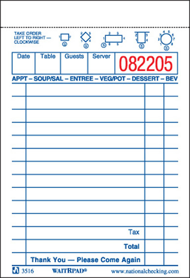 "GUEST CHECK 13 LINE 1 PART NCC  3.5"" x 5.125""  WHITE 10000"