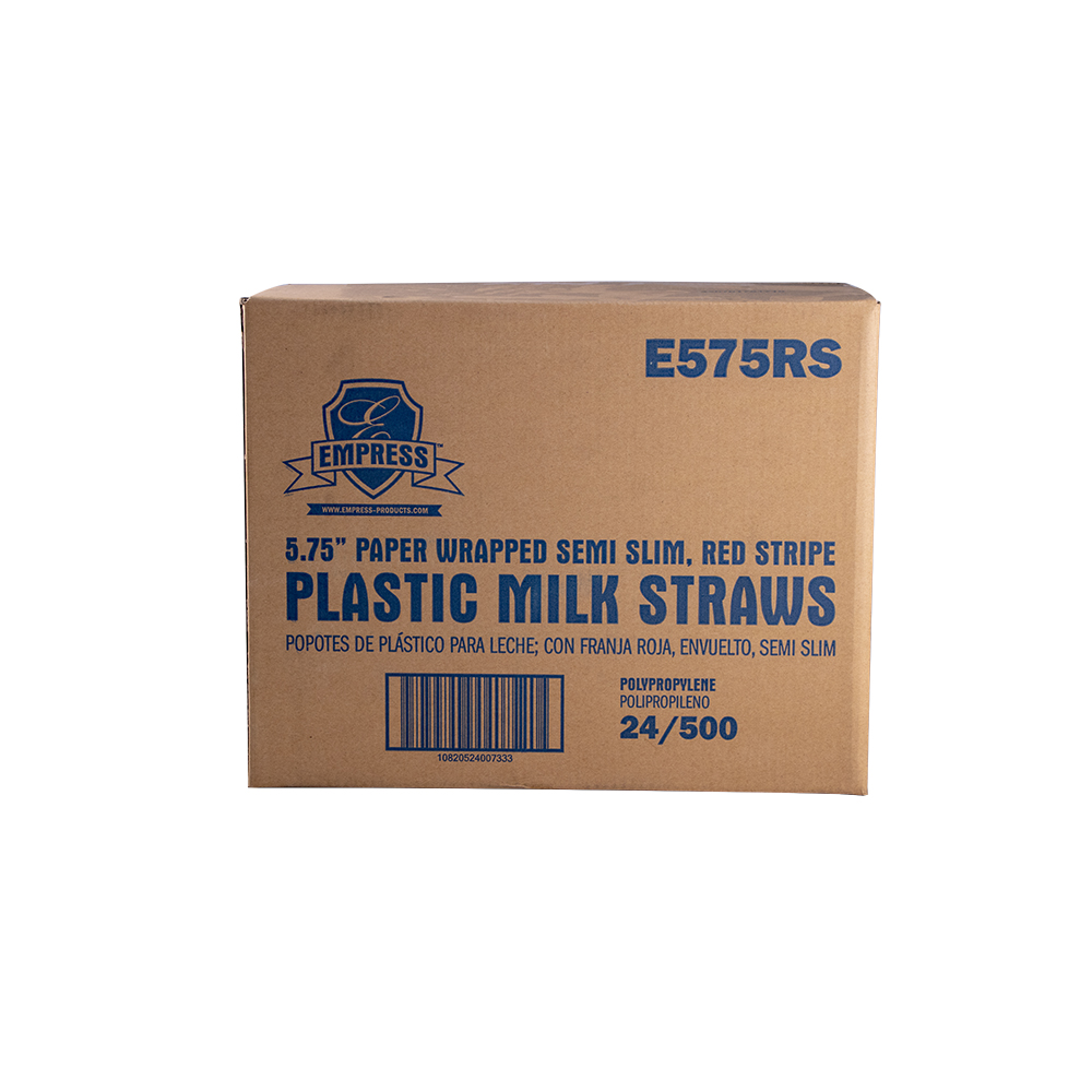 "STRAWS PAPER MILK SEMI SLIM WRAPPED 5.75"" 500 PER BOXS 24"