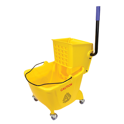 MOP BUCKET WITH WRINGER 26/32 QT SIDE PRESS YELLOW