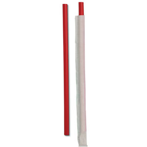 "STRAWS GIANT 10.25"" WRAPPED RED 1200 PER CASE"