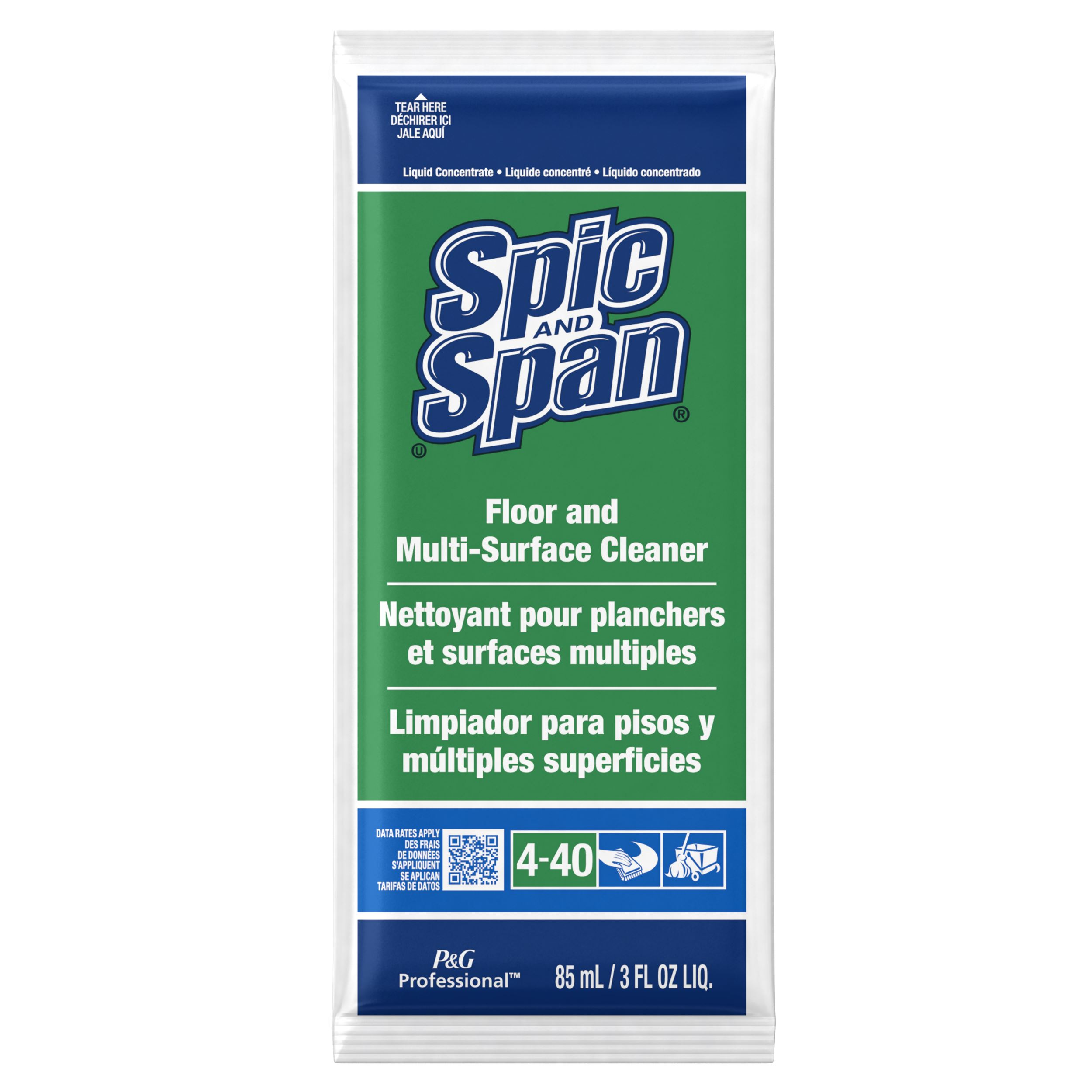 SPIC AND SPAN LIQUID FLOOR CLEANER PACKETS 45 PER CASE
