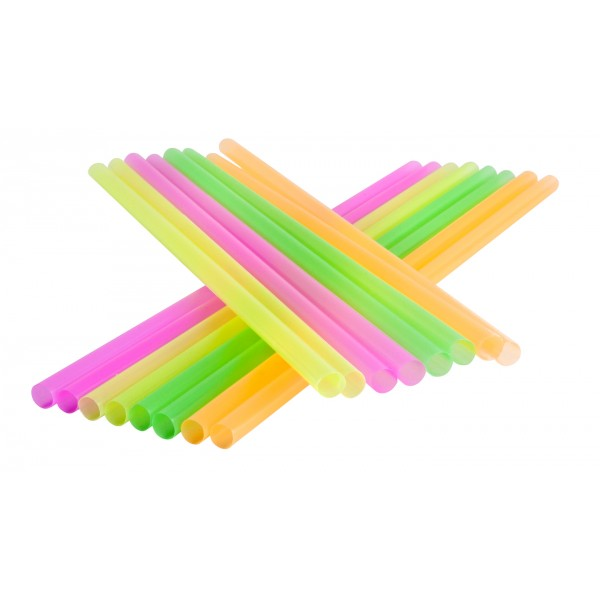 "STRAWS JUMBO 6"" UNWRAPPED  ASSORTED NEON COLORS 5000 PER"