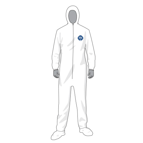 COVERALL WHITE DUPONT TYVEK W/ HOOD AND BOOTS SIZE LARGE