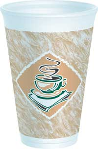CUPS 16 OZ FOAM PRESSED CAFE G DESIGN 1000 PER CASE