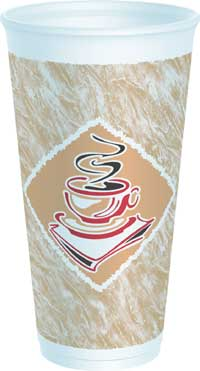 CUPS  20 OZ FOAM PRESSED CAFE G DESIGN 500 PER CASE