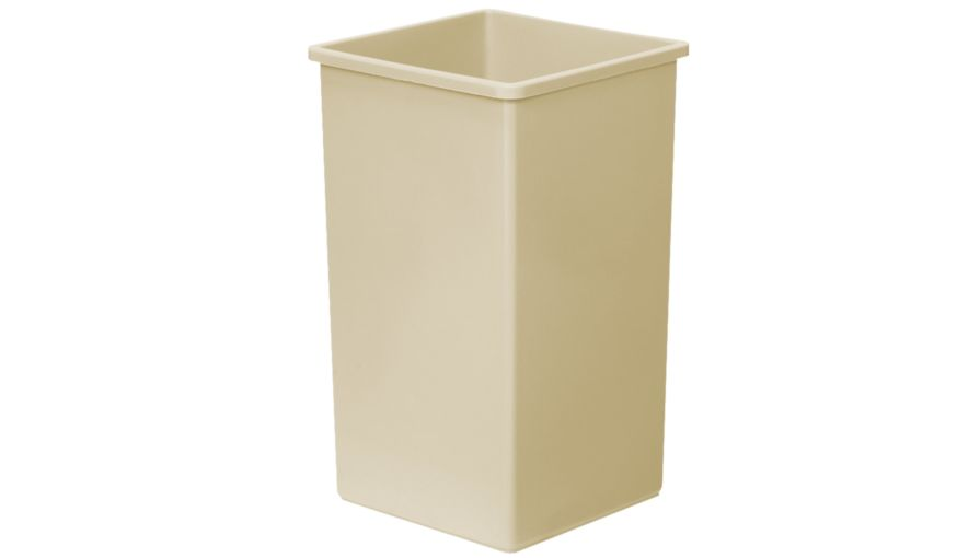 TRASH CAN 25 GALLON BEIGE SQUARE