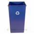 TRASH CAN SQUARE 50 GALLON UNTOUCHABLE BLUE RECYCLE
