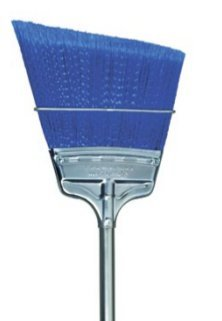 "BROOM 9"" BLUE FLAGGED POLY ANGLE STEEL HANDLE"