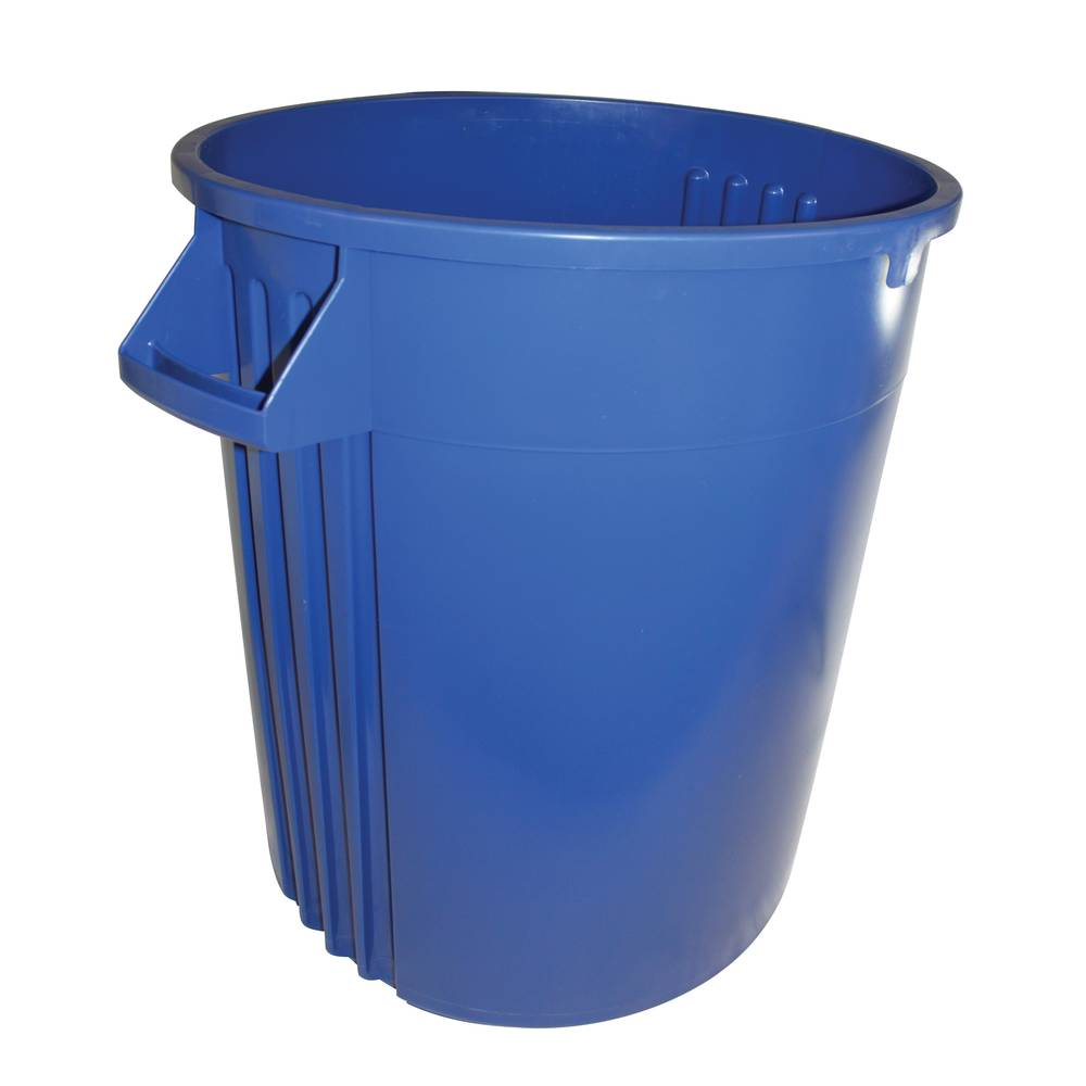TRASH CAN 32 GALLON BLUE ROUND