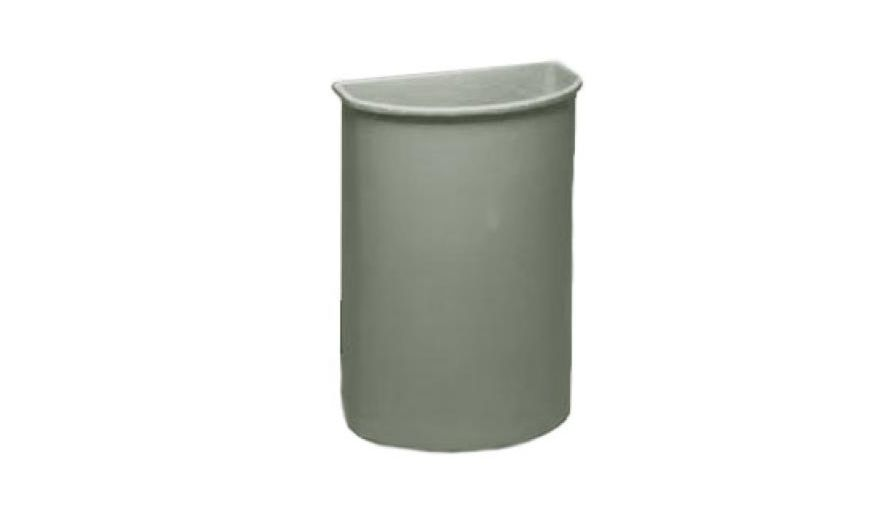 TRASH CAN 21 GALLON GRAY HALF ROUND