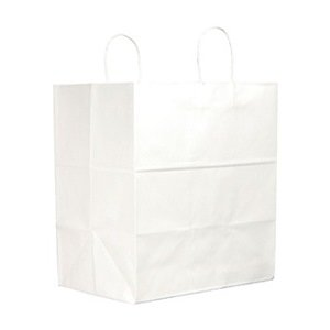 BAG PAPER 65# TUFFY JR MART W/HANDLE WHITE 250 PER PACK