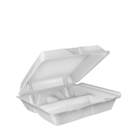 TO-GO 3 COMPARTMENT 9 3/8 X 9 X 3 FOAM HINGED WHITE 200