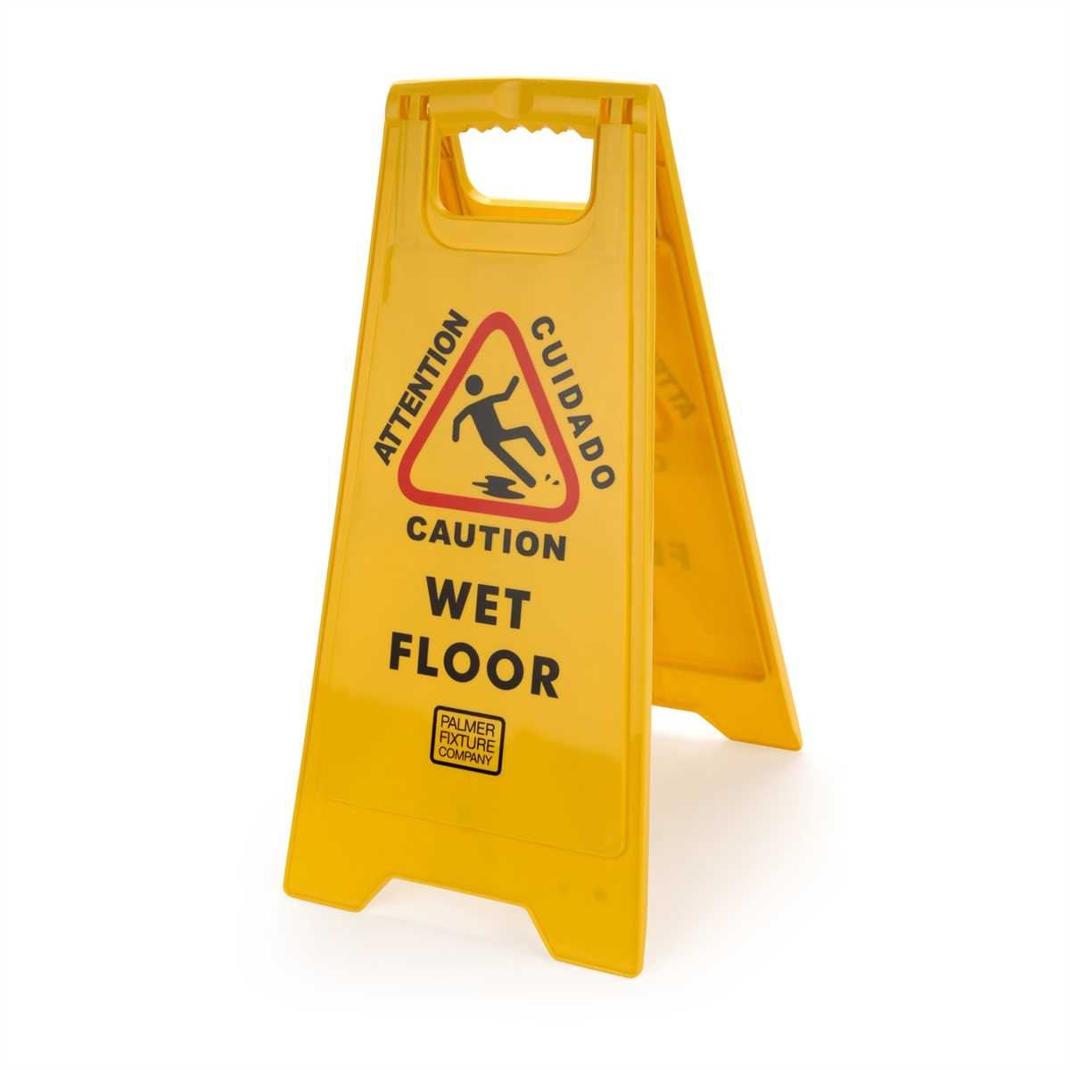 SIGN WET FLOOR CAUTION TWO SIDED BILINGUAL