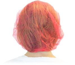 HAIR NETS SIZE 24 100 PER BAG RED BOUFFANT