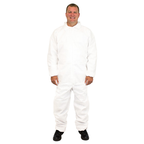 COVERALLS WHITE POLYPROPYLENE ELASTIC WRIST & ANKLES LARGE