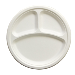 "PLATE 10"" 3 COMPARTMENT NATURAL BAGASSE 500 PER CASE"