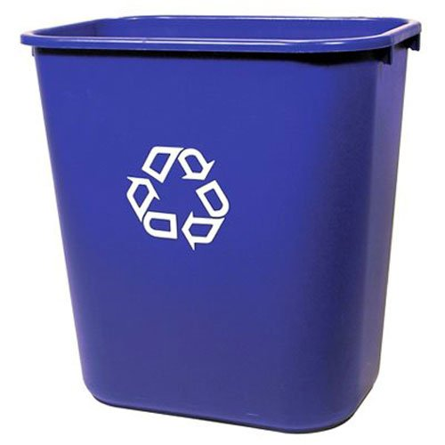 WASTEBASKET 41 QUART BLUE  WITH RECYCLING SYMBOL 5373897