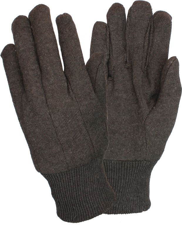 GLOVES BROWN JERSEY CLUTE CUT, KNIT WRIST 1 DOZEN
