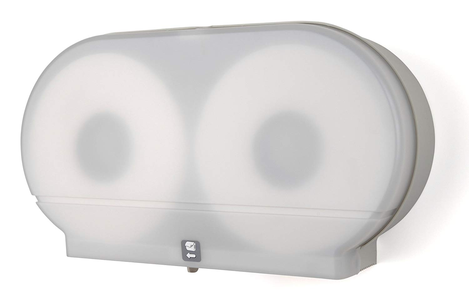 "DISPENSER TOILET TISSUE MODEL 27 TWIN 9"" WHITE PLASTIC"