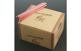 "STIRRERS 5.25"" RED/WHITE STRIPPED UNWRAPPED (10 BOXES"