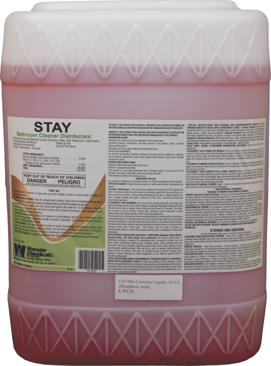 STAY TUB & TILE CLEANER 5 GALLON PAIL