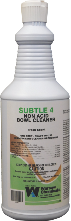 SUBTLE 4 NON-ACID BATHROOM CLEANER (12 QUART CASE)