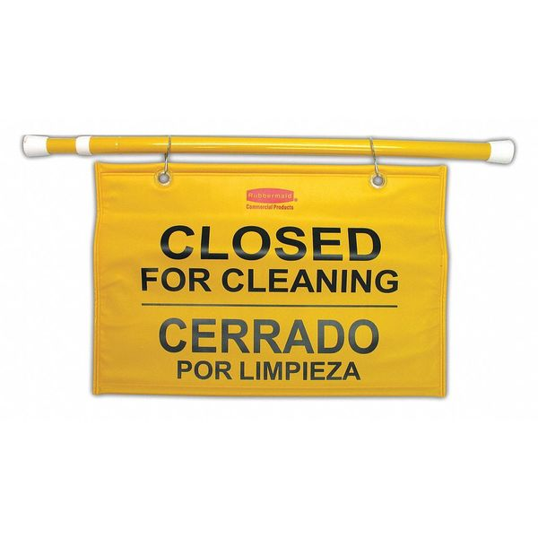 "SIGN SAFETY HANGING ""CLOSED FOR CLEANING"" YELLOW"